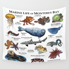 Marine Life of Monterey Bay Wall Tapestry
