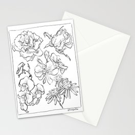 mixed blooms Stationery Cards
