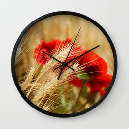 Field of golden wheat with red poppy flowers Wall Clock