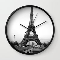 eiffel tower Wall Clocks featuring Eiffel Tower by Loaded Light Photography