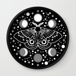 Moth in the Moon Light Wall Clock