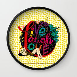 life quote and a girl Wall Clock
