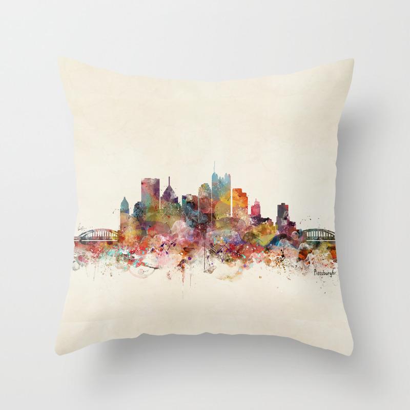 Pittsburgh Pennsylvania Skyline Throw Pillow By Bribuckley Society6