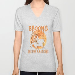 Brooms Are For Amateurs T-Shirt Halloween Riding Unicorn Unisex V-Neck