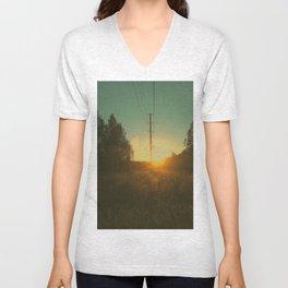 Powerline Sunset Unisex V-Neck