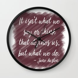 Jane Austen Quote in Berry Wall Clock