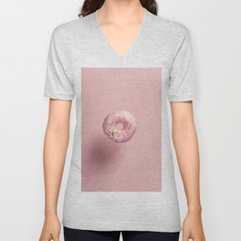 Pink doughnut with sprinkles falling or flying in motion against pink pastel background Unisex V-Neck