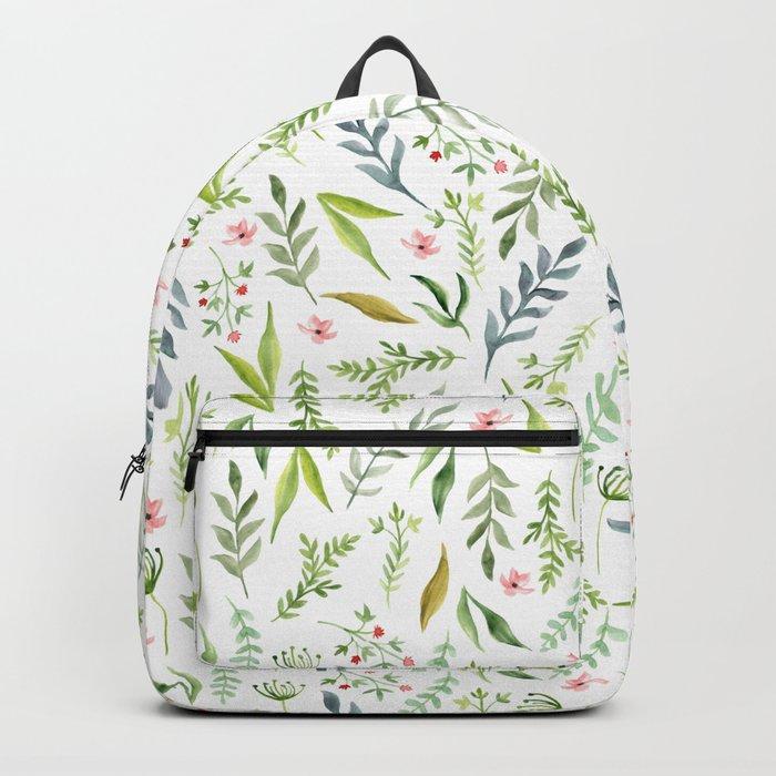 Leaf pattern. Watercolor Backpack