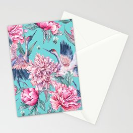 Teal peonies and birds Stationery Cards
