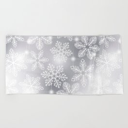 Snowflakes and lights Beach Towel