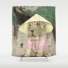 Shar Pei on the Great Wall (China) Shower Curtain