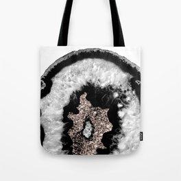 Gray Black White Agate Glitter Glamor #5 #gem #decor #art #society6 Tote Bag