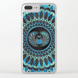 Egyptian Scarab Beetle - Gold and Blue glass Clear iPhone Case