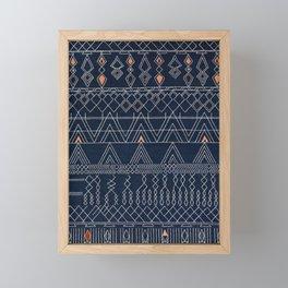 N53 - Blue Indigo Oriental Antique Traditional Moroccan Style Artwork Framed Mini Art Print