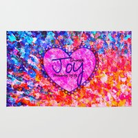 religious Area & Throw Rugs featuring CHOOSE JOY Christian Art Abstract Painting Typography Happy Colorful Splash Heart Proverbs Scripture by The Faithful Canvas