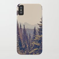 woods iPhone & iPod Cases featuring Mountains through the Trees by Kurt Rahn