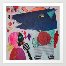 Little red riding hood and the dancing wolf Art Print