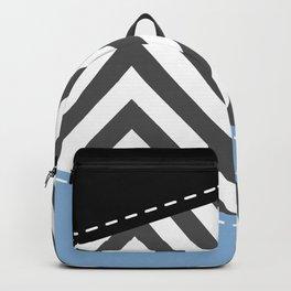 Gray Zigzag, Gray Chevron, Zigzag Pattern, Blue Backpack