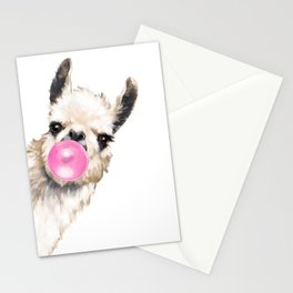 Bubble Gum Sneaky Llama Stationery Cards