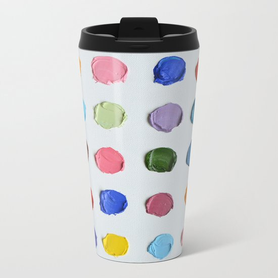Rainbow Polka Daubs Metal Travel Mug