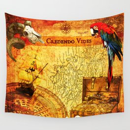 Credendo Vides Old Pirate Map Wall Tapestry