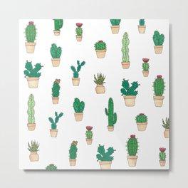 Cacti and Succulent Garden Pattern Metal Print