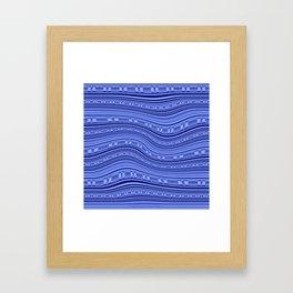 Optical Illusion Moving Stripes Indigo Blues Framed Art Print