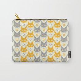 Mid-century Modern Abstract Cat Pattern, Vintage Cats in Illuminating Bright Yellow and Ultimate Grey Trendy Colors of the Year 2021 Carry-All Pouch