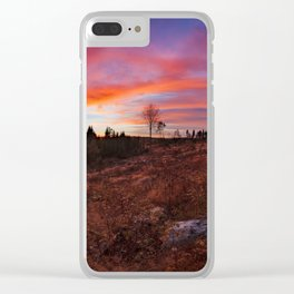 Beautiful vibrant sunset clouds view landscape in Finland Clear iPhone Case