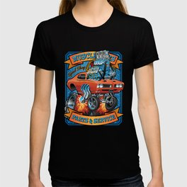 Classic Sixties Muscle Car Parts & Service Cartoon T-shirt