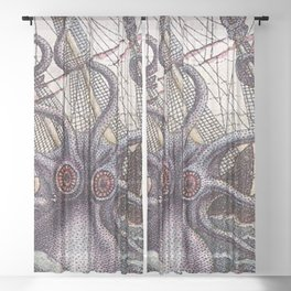 Mythical Giant Octopus  Sheer Curtain