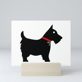 Black Scottiedog Scottish Terrier with Christmas Holly Mini Art Print