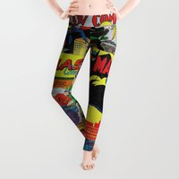 comic Leggings featuring Comic Pile 1 by Beastie Toyz