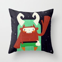 Skull Mask Witch Doctor - Green Palette Throw Pillow