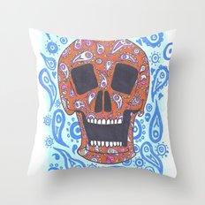 Paisley Skull Throw Pillow