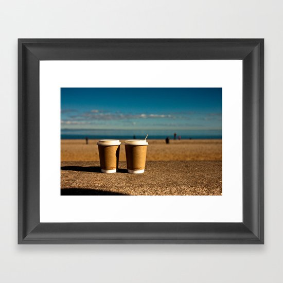 coffee at the beach Framed Art Print