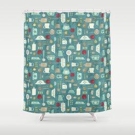 Vintage Kitchen Utensils / Teal Shower Curtain