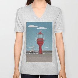 The lighthouse in the harbour in Skanor - light Unisex V-Neck