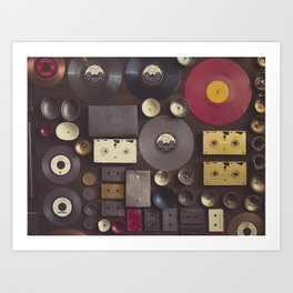 Music. Vintage wall with vinyl records and audio cassettes hung. Art Print