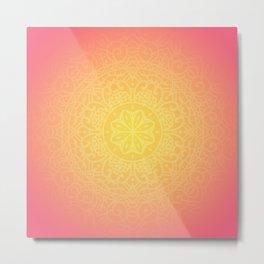 Abstract Mandala Flower Decoration 13 - Pink Orange  Metal Print