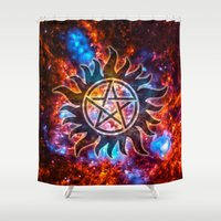 supernatural Shower Curtains featuring Supernatural Cosmos by Spooky Dooky