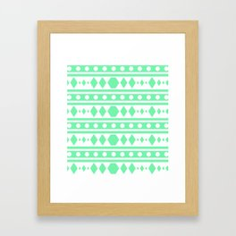 Mint Tribal Pattern Framed Art Print