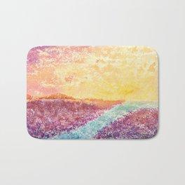 Magical Sunset Watercolor Illustration Bath Mat