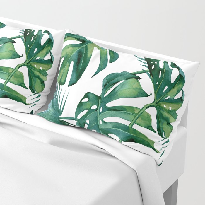 Classic Palm Leaves Tropical Jungle Green Pillow Sham