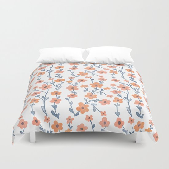 Orange Blue Foral Pattern Duvet Cover By Chotnelle Society6