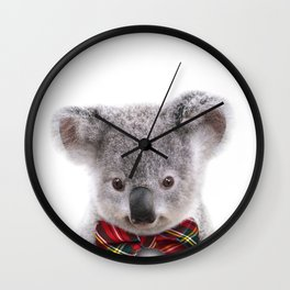 Baby Koala With Bow Tie, Baby Animals Art Print By Synplus Wall Clock