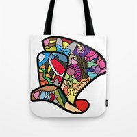 mad hatter Tote Bags featuring Mad hatter by Ilse S