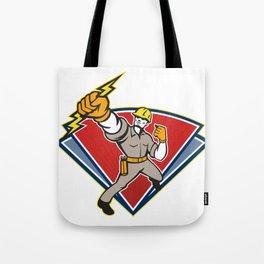 Electrician Punching Lightning Bolt Tote Bag
