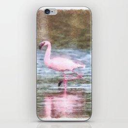 Lesser Flamingo Watercolor iPhone Skin