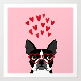 Boston Terrier head love hearts valentines day dog breed must have gifts Art Print